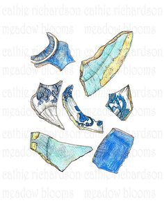 Broken Dishes Drawing Printable Art by meadowblooms on Etsy, $10.00