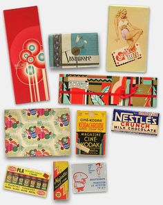 The May Company, Bullock's, Testor's Pla paints boxes, vintage Nestle's Crunch chocolate candy