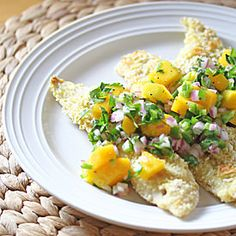 COCONUT CRUSTED SNAPPER WITH SPICY MANGO SALSA | Sweet Peas and Saffron