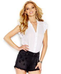 GUESS Flutter-Sleeve Button-Front Blouse - Juniors Tops - Macy's