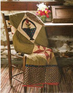 *Summer Nights* beautiful quilt draped over old chair. Primitive Quilts, Primitive Crafts, Primitive Stitchery, Primitive Patterns, Primitive Snowmen, Wood Crafts, Old Quilts, Antique Quilts, Quilt Display