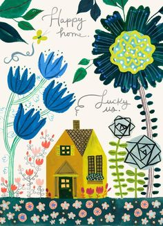Whimsical flowers of all colors and sizes decorate the happy house on the cover of this Mother's Day card, delivering a sweet message to a much-loved mom.