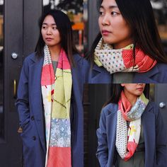 Assorted colors and fabric. New infinity scarves back in stock, Made with vintage shibori and kimono fabrics, only a few of each style can ever be made. Bring a pop of color into your fall wardrobe. $129 on Kirikomade.com