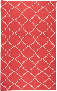 Captivating Coral And Aqua Area Rugs | Coral Red Rug With Ivory Diamond Print