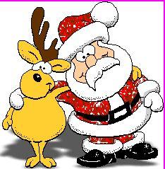 Funny Glitter Santa Reindeer Animated GIF
