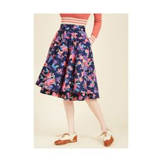 Vintage Inspired Mid-length Full Essence of Elan Midi Skirt (4.150 RUB) ❤ liked on Polyvore featuring skirts, apparel, blue, bottoms, full skirt, floral print midi skirt, midi skirt, draped skirt, blue floral skirt and full midi skirts