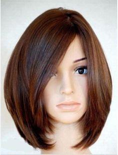 Soft Natural Medium Straight Bob 100% Human Hair Full Lace Wigs / Lace front wig