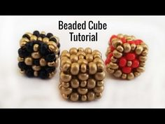 Beaded Cube - Tutorial. How to make beaded cube? - YouTube Beading Projects, Beading Tutorials, Beading Patterns, Cubes, Handmade Beaded Jewelry, Polymer Clay Beads, Christmas Desserts, How To Make Beads, Bead Weaving
