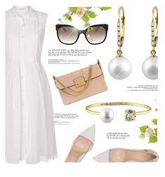 """Summer Elegance"" by jomashop ❤ liked on Polyvore featuring Diane Von Furstenberg, Prada, Lanvin, Gianvito Rossi, rose and whitedress"