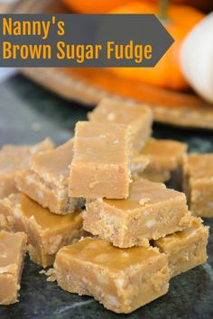 Nanny's Brown Sugar Fudge is an old-fashioned boiled candy recipe that is also referred to as penuche. Only the best tasting and perfect textured fudge out there! Recipe from Mae Iris Whitton - my precious Nanny Candy Recipes, Sweet Recipes, Baking Recipes, Holiday Recipes, Dessert Recipes, Holiday Desserts, Healthy Desserts, Vegan Recipes, Homemade Fudge