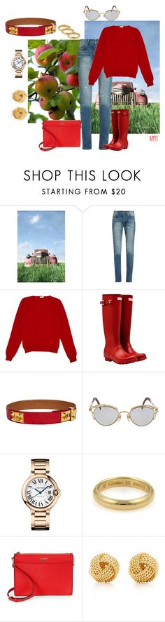 """""""Orchard Outing"""" by meesh57 ❤ liked on Polyvore featuring Yves Saint Laurent, Valentino, Hunter, Hermès, Jean-Paul Gaultier, Cartier, Kate Spade and Tiffany & Co."""