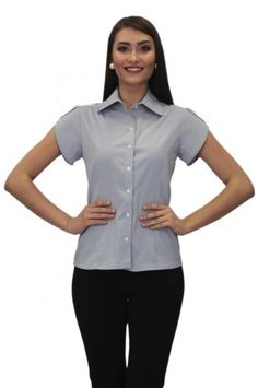 Camisa Social Feminina Manga Curta - Tulipa - Uniforme Social