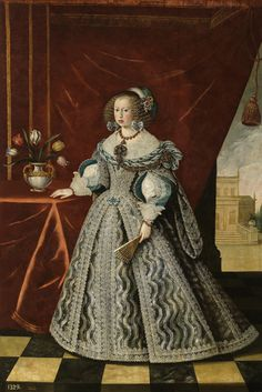 1646 Mariana of Austria, Queen consort of Spain by Frans Luyckx (Museo del Prado - Madrid, Spain). From their Web site. Infanta Margarita, Elizabeth Bathory, Austria, Anne Of Denmark, Henrietta Maria, 17th Century Fashion, Floral Headdress, Herzog, Historical Costume