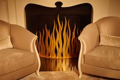 FEU Set a fireplace alight with this fiery metal decorative screen. Beautifully crafted with a double flame design, this piece adds glamor to any fireplace setting. www.christopherguy.com Decorative Screens, Decorative Items, Flame Design, Christopher Guy, Art Deco, Diy Projects, Modern, Household, Chinese