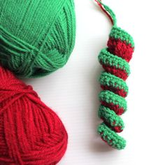 red green spiral crochet decoration