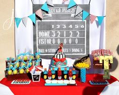 What a great dessert table at a #Baseballparty! #partytheme #Partydecoration #PartyIdeas https://www.facebook.com/yuya.paperie