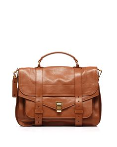 Leather bag with handle, envelope closure and detachable shoulder strap by @Proenza Schouler