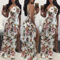 Trendy Bandage Split Floral Maxi Dress