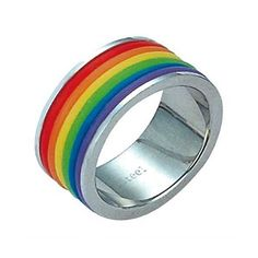 JewelGlo Gay Pride Striped Rainbow Ring 10 ($26) ❤ liked on Polyvore featuring jewelry, rings, accessories, fillers, silver, rainbow ring, hand crafted jewelry, handcrafted rings, handcrafted jewellery and rainbow jewelry