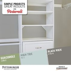 """Closet Makeover & Paint Color Inspiration Do you have a boring closet that needs to be revamped with a fresh coat of paint? Use these paint color ideas, advice, tips and tricks to tackle a Closet Makeover! Visit the """"Simple Projects Great Results"""" display in your local Menards for more decorating ideas & to browse Pittsburgh Paints & Stains' Grand Distinction paint colors!"""