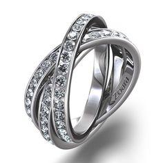 Criss-Cross Channel Set Diamond Eternity Ring in 18k White Gold