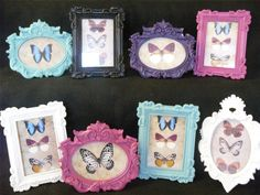 Photo Frames Painted Colourful Pink Turqoise Purple Black White Home Decor Girls Purple And Black, Black And White, Purple Home, White Home Decor, White Houses, Apartment Interior, Room Ideas, Decor Ideas, Girl Room
