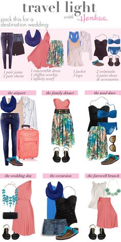 Travel Light with the ultimate resort packing list! Pick your own color palette & pack only these convertible pieces and basics and you'll have everything you need as a guest for a week long destination wedding trip. Works great for march break too!