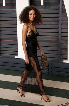 Negligee:Thandie Newton paired her barely-there dress withPippa Small jewellery...