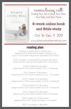 Biblical Homemaking 'Women Living Well' FB Online Study Group session.   Biblical Homemaking Facebook   Good Morning Girls