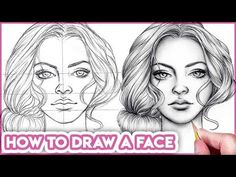 How to Draw Faces for Beginners, Basic Proportions Video & Text by Kirsty Partridge Art Learn how to draw faces step by step for beginners with this easy face drawing tutorial using basic face proportions. Drawing Skills, Drawing Techniques, Drawing Tips, Drawing Journal, Drawing Hair, Drawing Practice, Drawing Ideas, Outline Drawings, Easy Drawings