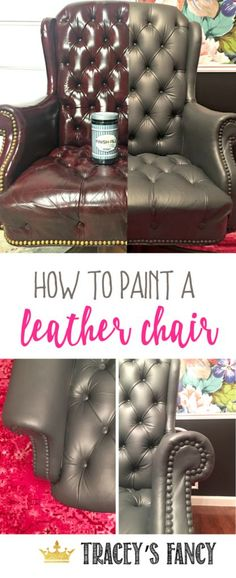 Gray Leather is hard to find .. just paint your own! How to Paint a Leather Desk Chair by Tracey's Fancy | Office Chair Makeover | Office Decorating Ideas | Leather Paint | Painting Leather | Home Office | Home Desk | Office Chair Makeover