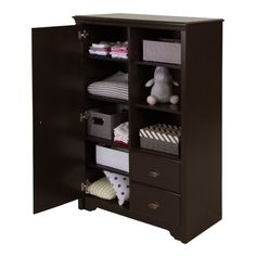 Amazon.com : South Shore Fundy Tide Armoire with Drawers, Espresso : Baby