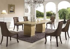 Dining Room Contemporary Marble Table For 6 Brown Chairs Above White Ceramic Floor Used Soft Carpet Under Chandelier Beside Lamp That