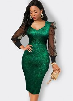Tight Dresses, Dresses With Sleeves, Sexy Dresses, Emerald Green Cocktail Dress, Work Attire Women, Party Dress Sale, Long African Dresses, Latest Dress For Women, Long Sleeve Evening Dresses