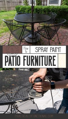 """"""""""" How To Spray Paint Patio Furniture – Fix Rust Spots & Peeling Paint In 2 Hours! """""""" Spray paint your patio furniture to give it a brand new look! Learn how to easily fix rust spots and peeling paint for an outdoor furniture makeover in just 2 hours! Painting Patio Furniture, Painted Outdoor Furniture, Spray Paint Furniture, Patio Furniture Makeover, Metal Patio Furniture, Furniture Fix, Furniture Ideas, Nice Furniture, Antique Furniture"""