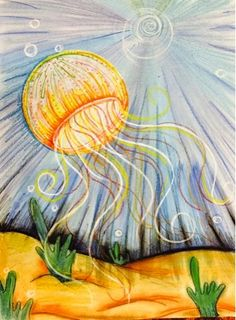 The Lost Sock : February 2015 Chalk background with coffee filter jellyfish.