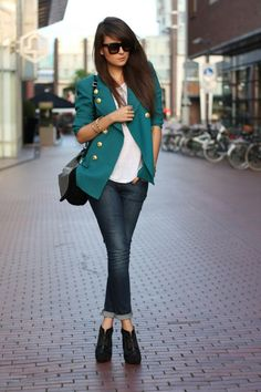 Love the look of this aquamarine blazer. Military inspired fresh style for fall.