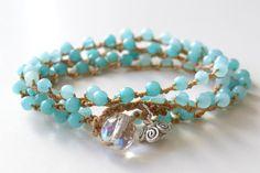 "Bohemian surfer crochet wrap bracelet, necklace ""shades of aqua"", boho surfer chic"