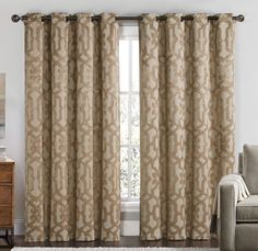 """VCNY Becket Room Darkening Thermal Grommet Blackout Curtains 2 Panel Set, Taupe Trellis - 104"""" W x 84"""" L"""