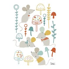 Wandtattoo Set 'Mäuse im Pilzwald' bunt