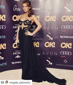 Beautiful Magda Palimariu looking stunning in Oscar Party, Looking Stunning, Oscars, Red Carpet, Embroidery, Silk, Studio, Formal Dresses, Celebrities