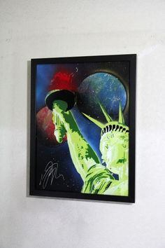 """Spray paint art """"The Statue of Liberty""""  number B158  size 330mm×430mm with black mat frame glass  painted by artist TOMOYA"""