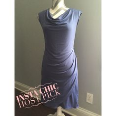 HP Ann Taylor dress EUC! Comfy dress with draped neckline and ruching on side. Great to wear to office or dress up with accessories for a more dressy event. Blue/purple color.  I'm 5ft 4in and dress hits just above my knees.  Machine washable! Ann Taylor Dresses Mini