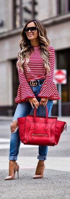 6db4e6d54b Striped Outfit details Shopbop Red Striped Top Gucci Belt (wearing a Levi s  Jeans (wearing a Celine Sunglasses Celine Bag Christian Louboutin  So Kate   ...