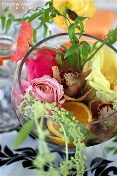 Spring Centerpiece, peonies, orchids, citrus, roses-- Photography by Empire West Photo  www.stacykfloral.com