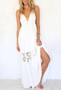 Halter Backless Hollow Split Dress