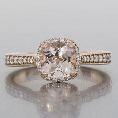 Diamond halo engagement ring - rose gold, taper setting, grain set, vintage, morganite.