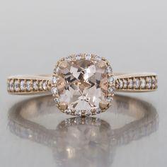 Diamond halo engagement ring - rose gold, taper setting, grain set, vintage, morganite.