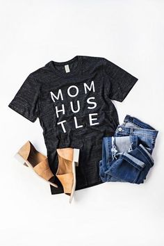 Mommin' so hard you deserve this tee! Charcoal Heathered Tee with Unisex Fit See Courtney's sizing HERE, she is wearing size Small 50% Polyester, 38% Cotton, 12% Rayon Pairing Possibility 1: PANTS | S