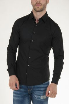 Πουκάμισο μαύρο μεσάτο με μακρύ μανίκι Slim Fit αντρικό sorbino